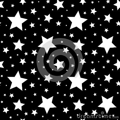 Free Seamless Pattern With White Stars On Black. Vector Illustration. Royalty Free Stock Image - 44523686