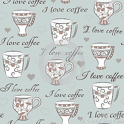 Seamless pattern with words I love coffee