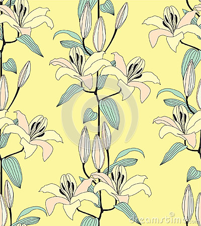Seamless pattern with yellow flower