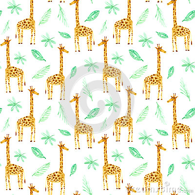 Seamless pattern with yellow giraffe and foliage. Cartoon Illustration