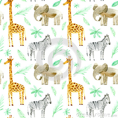 Seamless pattern with yellow giraffe, zebra, elephant and foliage. Cartoon Illustration