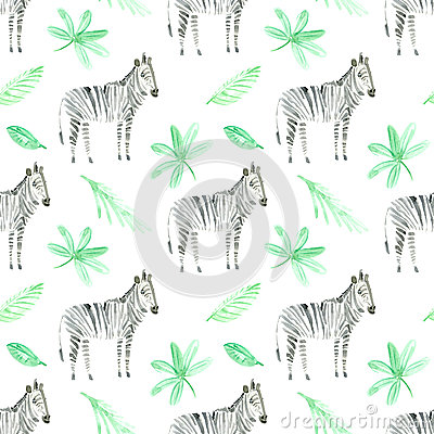 Seamless pattern with zebra and foliage. Cartoon Illustration