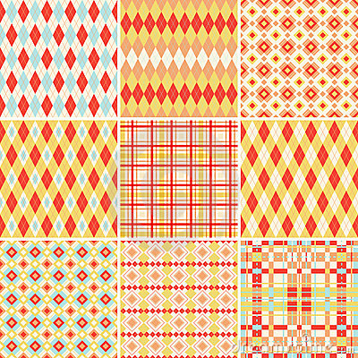 Seamless patterns collection in bright colors