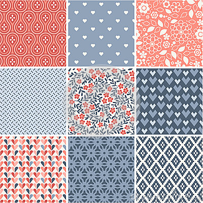 Free Seamless Patterns Collection With Hearts And Flowers Royalty Free Stock Photo - 43390255
