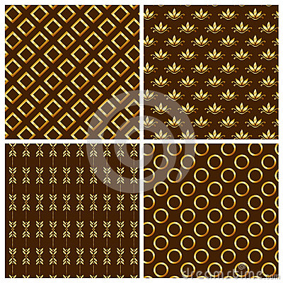 Seamless patterns with gold ornaments. Vector illu