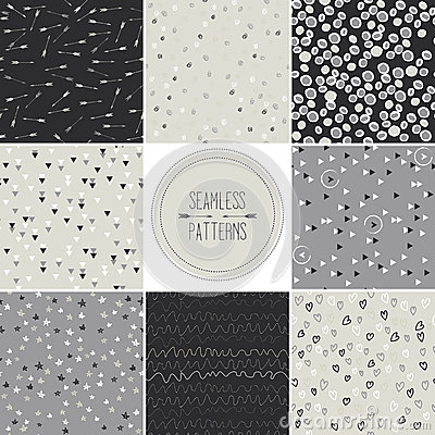 Free Seamless Patterns With Dots,arrows,hearts,stars,tr Royalty Free Stock Photo - 33918565