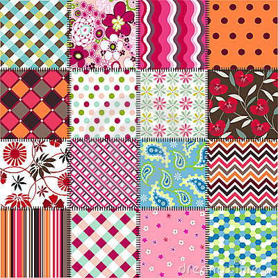 Free Seamless Patterns With Fabric Texture Royalty Free Stock Images - 24247309