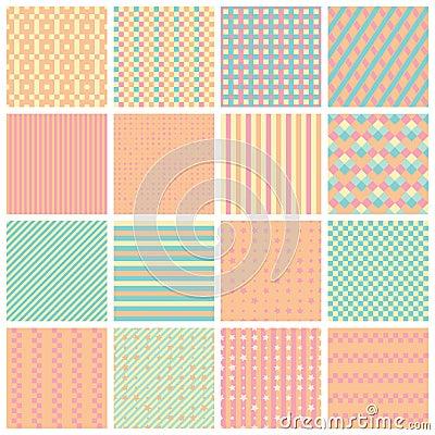 Free Seamless Patterns With Stripes, Stars, Bricks Stock Image - 90931141