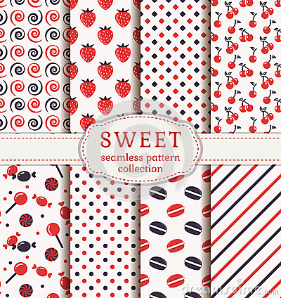 Free Seamless Patterns With Sweets. Vector Set. Royalty Free Stock Photography - 53485077