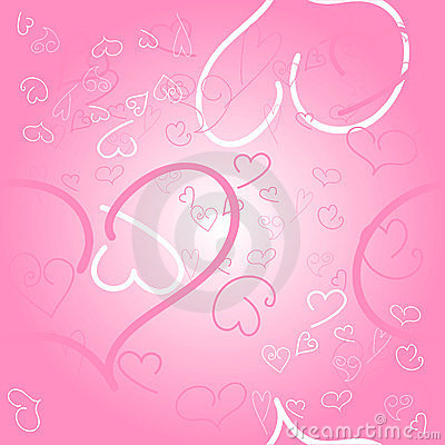 Seamless pink background with hearts