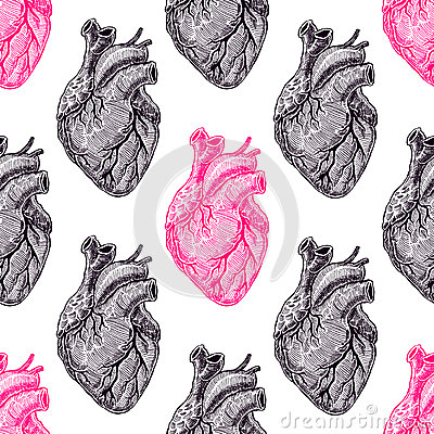 Seamless pink and black hearts Vector Illustration