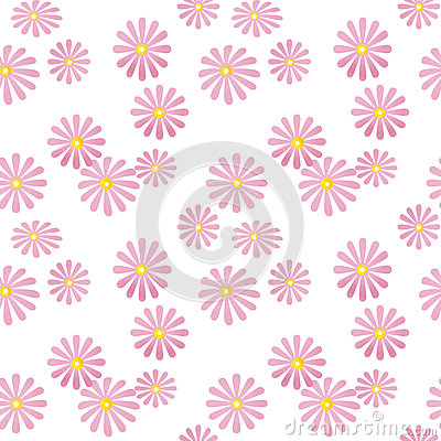 Seamless pink floral pattern on white Stock Photo