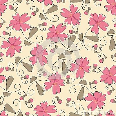 Seamless pink flower pattern