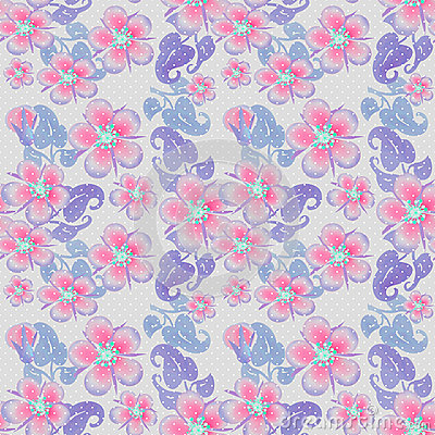 Seamless pink flowers pattern on grey dotted Stock Photo