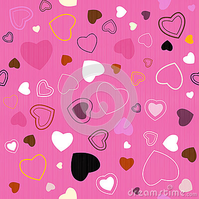 Seamless Pink Hearts Pattern