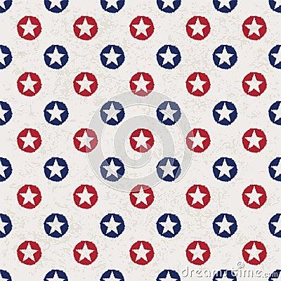 Seamless polka dot pattern with stars