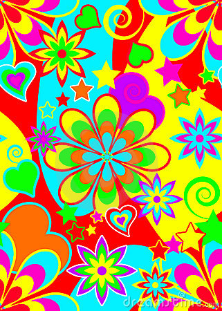 Seamless psychedelic hippie pattern