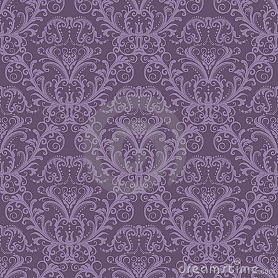 Free Seamless Purple Floral Wallpaper Royalty Free Stock Images - 19008859