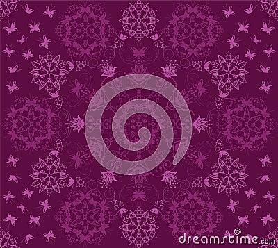 Seamless purple flowers and butterflies pattern