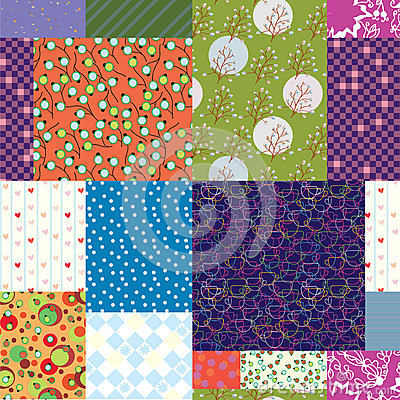 Seamless quilt pattern - floral fabrics