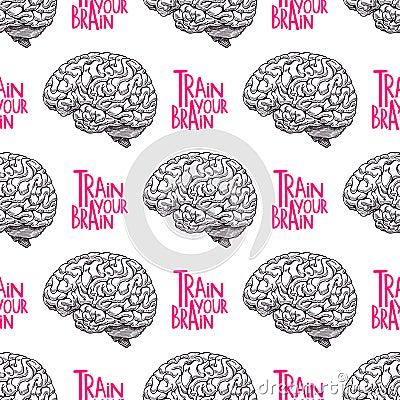 Seamless realistic brain Vector Illustration