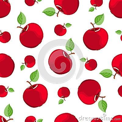 Seamless red apple pattern