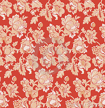 Seamless red baroque venetian wallpaper