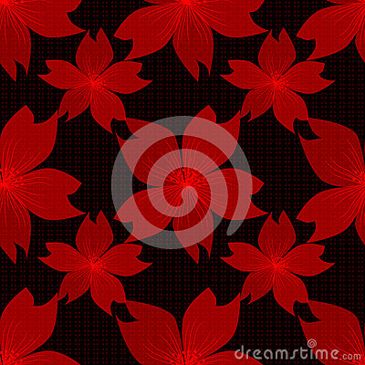 Seamless red floral pattern on black Stock Photo