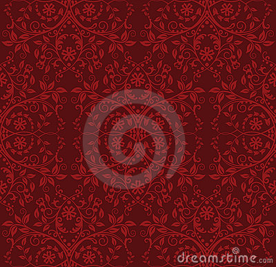 Seamless red floral wallpaper