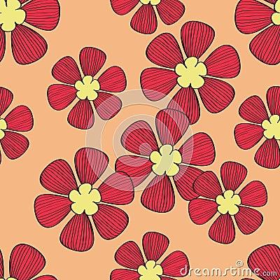 Seamless red flower pattern