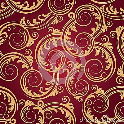 Free Seamless Red & Gold Swirls Wallpaper Royalty Free Stock Photo - 17610635