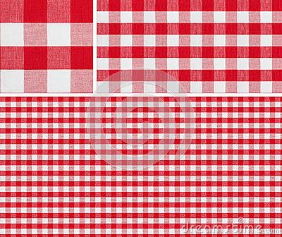 Seamless red picnic tablecloth checked pattern and result samples