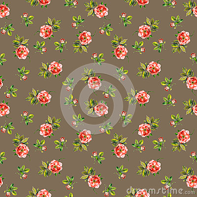 Free Seamless Repeated Swatch With Floral Design - Tiny Roses. Watercolor Stock Images - 74805814