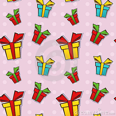 Seamless repeating pattern with gift boxes
