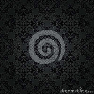 Seamless repetitive black floral pattern