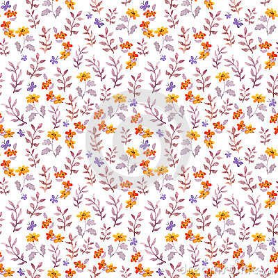 Free Seamless Retro Decorative Floral Swatch. Cute Flowers, Leaves And Retro Butterflies. Aquarelle Stock Photography - 99221812