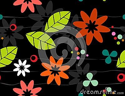 Seamless Retro Floral Bkgrd