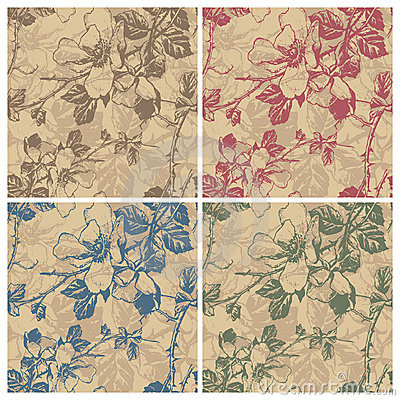 Free Seamless Retro Floral Pattern (vector) Royalty Free Stock Images - 18722279