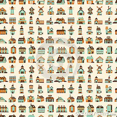 Seamless retro house pattern