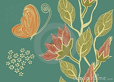 Seamless retro pattern with flowers in vector