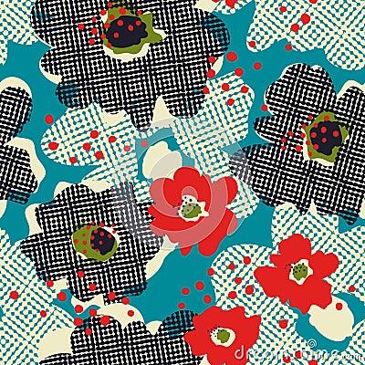 Free Seamless Retro Pattern With Flowers Stock Photo - 108430170