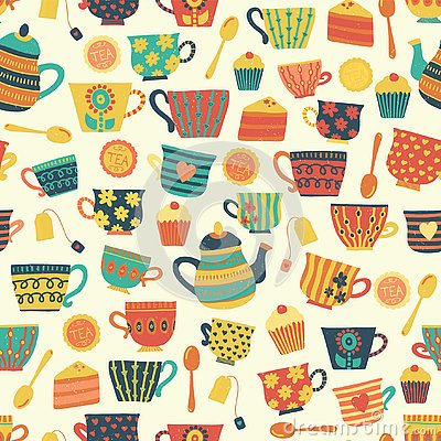 Seamless retro tea cup vector pattern background beige. Distressed vintage look. Hand drawn tea mugs, teapot, spoons, cupcake. For Stock Photo