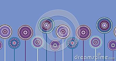 Seamless retro violet floral border