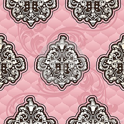 Seamless Rococo floral in pink