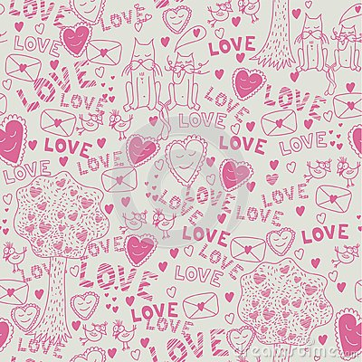 Seamless romantic pattern