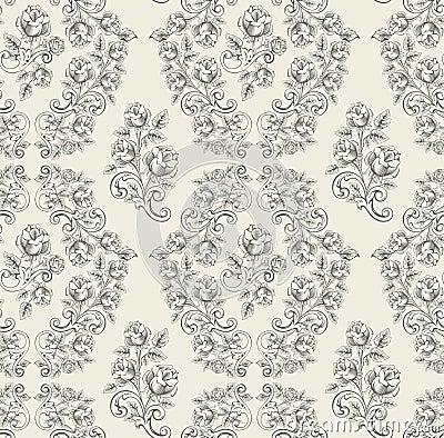Seamless rose pattern- grey