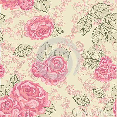 Seamless Rose Vintage pattern