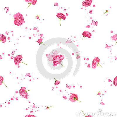 Free Seamless Roses In Pink Royalty Free Stock Photos - 26209358