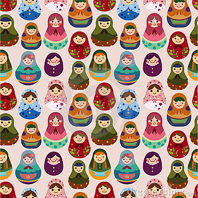Free Seamless Russian Doll Pattern Royalty Free Stock Images - 17600129