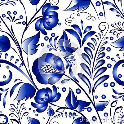 Seamless russian gzhel patterns on a white background